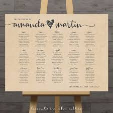 Seating Chart For Wedding Reception Large Wedding Seating Chart Printable Guest Table Assignment Etsy