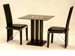Dining Room:Small Dining Room Design With Square Glass Dining Table  Featuring Modern Black Steel