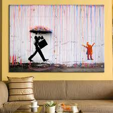 banksy art colorful man in the rain wall canvas wall art living room wall decor abstract fresh expensive wall art