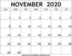November 2020 Calendar Printables Pdf November 2020 Printable Calendar Free Printable Calendar Com