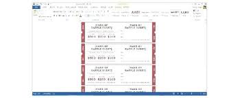 Word Ticket Template Numbered Raffle 2 Skincense Co