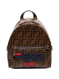 Fendi Backpacks Light Brown Mania Mini Backpack Blue Womens Dominic Watson