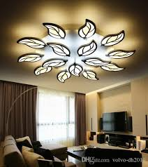 modern metal leaf led ceiling chandeliers lamp re acrylic bedroom dimmable led chandelier lighting foyer luminaria fixtures llfa home lights yellow