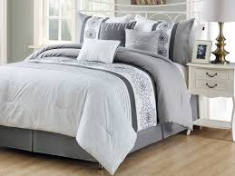 white pleated comforter. Modren Pleated 7Pc Lacey Geometric Floral Medallion Embroidery Pleated Comforter Set  Silver Gray White Queen Intended E