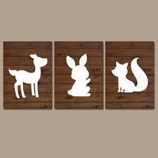 woodland wall art nursery deer rabbit bunny fox artwork wood forest girl boy set of 3 on forest animal nursery wall art with best fox woodland baby decor products on wanelo