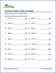 Mm Cm M Conversion Chart Grade 6 Measurement Worksheets Free Printable K5 Learning