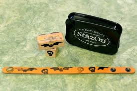 leather bracelets and stazon ink make fast and scarey projects