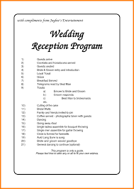 Wedding Reception Order Of Events Template Invitation