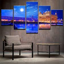 printed modular picture large canvas painting 5 panel indian golden temple for bedroom living room home