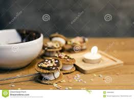 Candle Light Bakery Cooking Bakery From Mush Mellow Cookies Bakery Stock Image