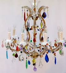8 arm large marie therese cage with multi coloured drops the vintage chandelier company the vintage chandelier company
