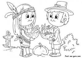 Small Picture Free Printable Thanksgiving native and pilgrim coloring page