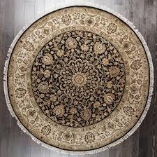 rugsville royal persian mir handmade black ivory wool oriental round rug 240x240 cm