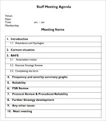 Agenda For Meetings Format Free 5 Staff Meeting Agenda Samples In Example Format