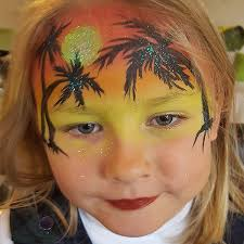 kids face painting tropical holiday sunset island theme