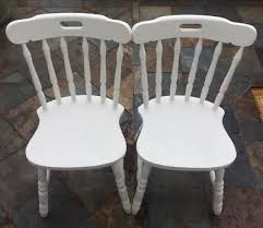 details about 2x farmhouse spindle back kitchen chairs solid wood old white by annie sloan