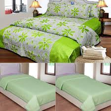 double bed top view. Buy 1 Cotton Double Bedsheet With 2 Pillow Covers \u0026 Get Set Of Single Topsheets | Bed Sheets - ShopCJ Top View