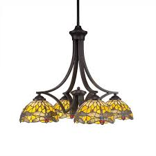 zilo dark granite four light chandelier with amber dragonfly tiffany glass