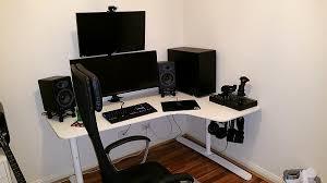 white ikea bekant corner desk in gaming room with wall adjuleht electrically adjule height desk ikea