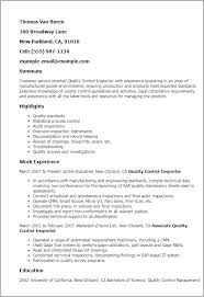 Qc Resume Samples Quality Control Inspector Resume Template Best Design