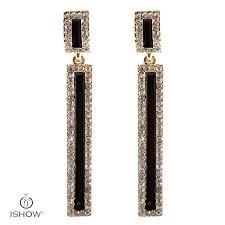black crystal square earrings women bridal gold color drop earring fashion jewelry gift penntes korean pennte women earring long dangle chandelier