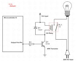 relays interfacing of relays with microcontrollers practical 12v relay schematic interface of relay with microcontroller circuit diagram