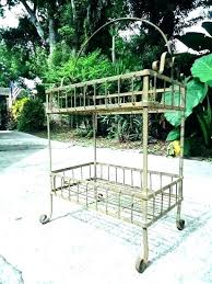wrought iron planters plant stands two tiered garden cart hanging planter outdoor