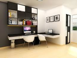 bedroom modern study room with white floating desk with black top and double white acrylic