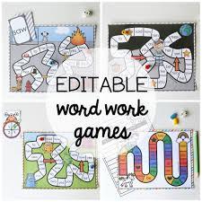 15 word work board games editable