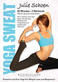 amazon yoga sweat yoga dvd for weight loss with julie schoen powerful and fun yoga exercise and fitness video recordings sports outdoors