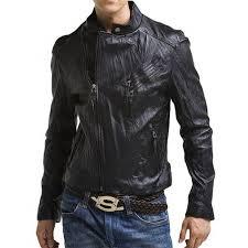 mens slim fit bike rider asymmetrical black leather jacket
