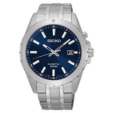 men s seiko watches h samuel seiko kinetic men s navy dial stainless steel bracelet watch product number 3562751