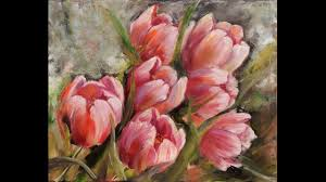 demo oil painting of flowers tulips