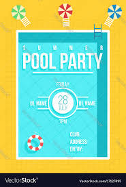 invitation flyer pool party poster summer party invitation flyer vector image on vectorstock