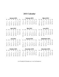 2015 Calendar Page Printable 2015 Calendar On One Page Vertical
