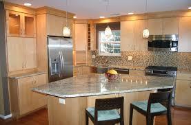 Birch Wood Kitchen Cabinets Kitchen Astounding L Shape Kitchen Decoration Using Birch Wood