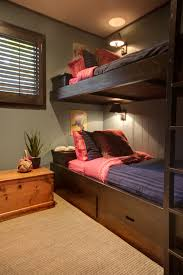 bunk bed lighting. Bunk Bed Lighting Ideas Bedroom Rustic With Paneled Walls Plantation Shutters Under Storage