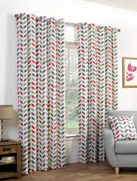 Living Room Ready Made Curtains Neo Ready Made Eyelet Curtains In Greyred Terrys Fabrics Uk