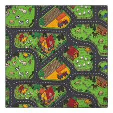 kids rug carpet street play carpet animal farm 200x200cm 001