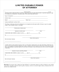 Durable Power Of Attorney Form Inspiration 44 Sample Limited Power Of Attorney Forms Sample Templates