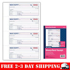 Adams Money And Rent Receipt Book 3 Part Carbonless White Canary
