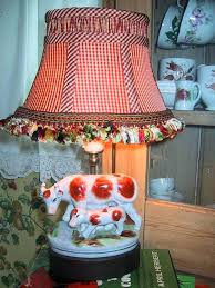 country lamp shade french country lamp sweet cow and her calf with tasseled gingham shade primitive country lamp shade