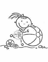 Small Picture Little Girl with Beach Ball coloring page for kids seasons