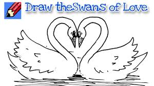 How To Draw Swans Of Love Real Easy For Kids And Beginners Youtube