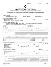 Free Texas Rental Application Form Pdf Eforms Free