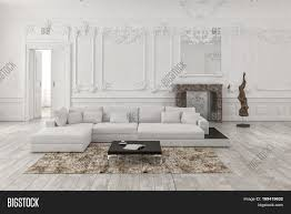 Living Room Wainscoting Classical White Monochrome Living Room Interior With Wainscoting