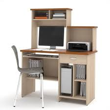 bestar active home office computer desk in copper cherry and northern maple