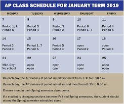 J Term Ap Schedule University High School
