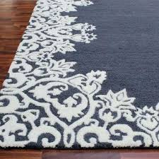 enchanting blue and white area rugs on rug brown