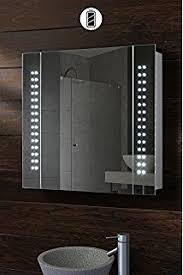Pebble Grey Quebec LED Illuminated Bathroom Mirror Cabinet